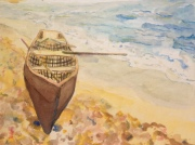 """Seaside Currach"" 5x7 Watercolor $95"