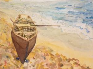 """Seaside Currach"" 5x7 Watercolor $95"