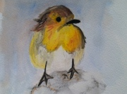 "Yellow Sparrow. Watercolor on Paper. Image size 5"" x5"". Framed and Matted. For Sale $75"