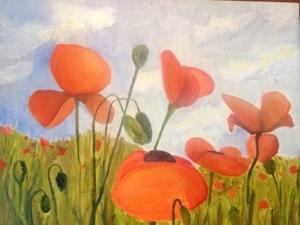 """Poppy Fields. Oil on Panel. 8""""x10"""" For Sale."""