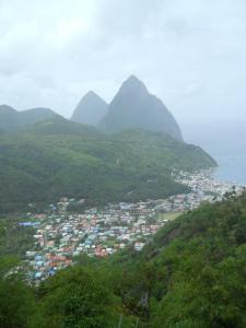 the Gros and Petit Pitons, trademark view of St. Lucia