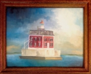 """Storm off Ledge Light"" 8x10 Oil on Board $250 SOLD"